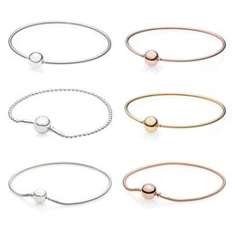 essence bracelet Promo Codes - 925 Sterling Silver Bead Charm Bracelet Shine Pans Original Essence Collection Pans Bangle Rose Gold for Women DIY Jewelry