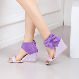 sandalias de tacón alto sexy para mujer Rebajas Venta al por mayor Sandalias clásicas de señora Wedge Sandals 9cm Verano 2019 Diseñador de zapatos Bowtie de cuero sexy zapatos de tacón alto para mujer
