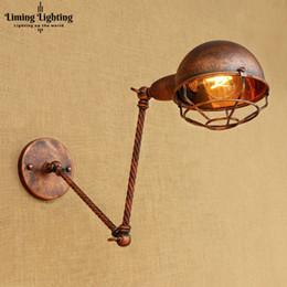 Illuminazione del braccio oscillante online-Rust Retro Vintage Applique da parete E27 Edison Home Indoor Lighting Ajustable Swing Long Arm Lampada da parete Sconce LED Lampara Pared