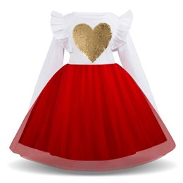 princess shaped dresses Coupons - 2019 New Spring Winter Kids Girl Sequin Heart-shaped Print Warm Dresses Long Sleeved Grenadine Patchwork Princess Tutu Dress