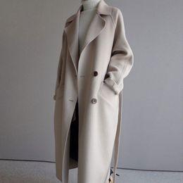 2019 guarnição da pele de capa preta 2019 Casaco de Inverno Mulheres Grande lapela Belt bolso mistura de lã casaco de tamanho grande Longo Trench Casacos de lã Mulheres