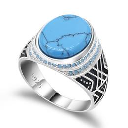 Piedra azul mar online-Anillo de plata esterlina de los hombres con mar azul grieta turquesa grande piedra plana pequeño anillo de piedras de turquesa para hombre joyería punk
