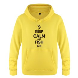 Рыболовные пуловеры онлайн-Keep Calm and Fish on - Hunting Fishing Camping Sweatshirts Men 2018 Mens Hooded Fleece Pullover Hoodies