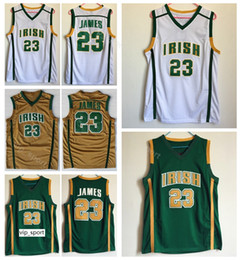 James brown pallacanestro online-High School LeBron James Jersey 23 Uomo Basket Irlandese St. Vincent Mary Jersey per gli appassionati di sport Squadra verde via marrone colore bianco