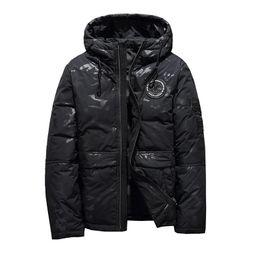 Homem camuflagem azul inverno casaco on-line-2018 outono e inverno novo padrão de roupas masculinas Camuflagem engrossar silm com capuz homens curto jaqueta branco preto verde azul