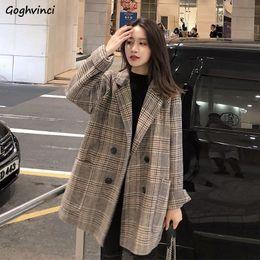 2020 casaco xadrez em lã mais tamanho Womens misturas de lã longo Mulheres Plus Size Plaid Elegante Elegante Casaco Double Breasted Estilo Coreano para senhoras solto Stylish casaco xadrez em lã mais tamanho barato