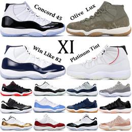 Desenhador Concord 11 tênis de basquete 11s com chaveiro mens Heirress Cereja Black stingray Olive Lux Legend Azul UNC Georgetown formadores de