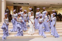 2019 dentelle africaine lilas Sexy Lilac Dentelle Appliqued Demoiselle D'honneur Robe Africain Hors Épaule À Manches Longues Formelle De Bal Robe De Soirée Pas Cher Robe De Mariage dentelle africaine lilas pas cher