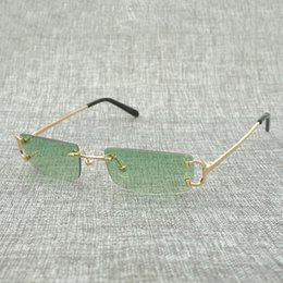 brown tinted sunglasses Coupons - Small Square Rimless Sunglasses Men Sun Glasses Frame Outdoor Tint Color Eyeglasses for Decoration Colorful Choice Eyewear Shades 827