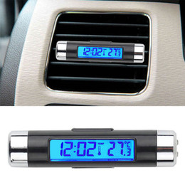 relógios de carro led Desconto Pequeno 2in1 LED Digital relógio de carro Termômetro Temperatura Auto LCD Backlight
