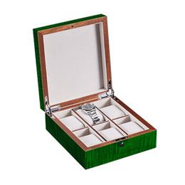Peinture vert clair en Ligne-Nouveaux étuis de rangement en bois de couleur verte Peinture de cuisson au piano Peinture haute lumière Montre vitrines Qualité Watch Box WB0182-212