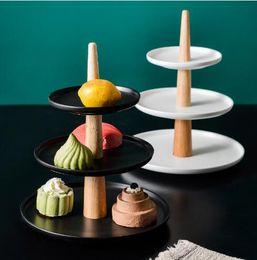 2019 keramik kuchen tablett Farbig glasierte Keramik Dreischichtregal Nachmittagstee Tablett Obsttablett Mehrschicht Dessert Tisch Kuchen Display Test Tisch rabatt keramik kuchen tablett