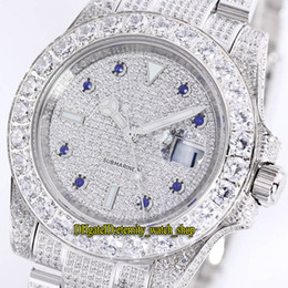 diamant lunette montre hommes  Promotion Version meilleure 40mm New Sub 116769 116759 116758 2813 automatique Mens Watch gypsophile Dial Big Diamond Bezel acier diamant Montres Bracelet