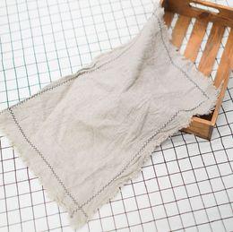 Sets de serviettes en tissu en Ligne-Tapis de table 100% lin sets de table en lin naturel blancs flans de serviette blancs à glands nappe uni pure serviette en lin