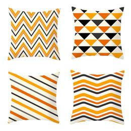 2019 decorazioni di lusso 45 * 45 cm motivi geometrici copertura del cuscino arredamento per la casa di lusso striscia arancione tiro federa divano federa decorazione festa di halloween sconti decorazioni di lusso