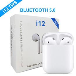 Casque bluetooth casque sans fil en Ligne-écouteurs bluetooth i12 tws bluetooth 5.0 sans fil prise en charge fenêtre pop-up Écouteurs écouteurs colorés à commande tactile