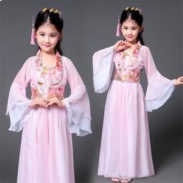 2019 vestiti di mascheratura femminile Hanfu cinese antico costume tradizionale ragazze di ballo della fase di prestazione del vestito Donna popolo delle fate Outfits Tangsuit per i bambini