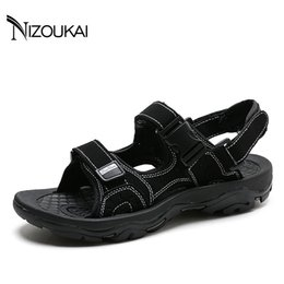 f16 Coupons - High Quality Sandals Men Leather Sandals Summer Beach Shoes Casual Men Beach Male Sandal Fashion sandalias hombre F16
