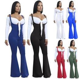 Europa e nos estados unidos outono das mulheres sexy malha macacão de costura elástica magro grande u-neck cintas macacão de