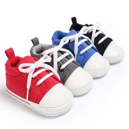 Argentina Nuevo Multicolor 4Colores Bebé Infantil Cuna Niñas Niños Moda Lienzo Primavera Otoño Con Cordones Acolchados Suela Suave Zapatillas Zapatos supplier padded shoe laces Suministro