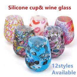 óculos de piquenique ao ar livre Desconto Silicone Copo De Vinho de Vidro Colorido Inquebrável Vinho Inoxidável Cup Food Grade Grau de Camuflagem Do Vinho Portátil Decoração Do Partido Da Cerveja