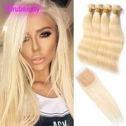 Remy de pelo virgen indio 4 paquetes con cierre de encaje 4X4 613 # Blonde Extensiones rectas de cabello humano Tramas con cierre 613 # Blonde desde fabricantes