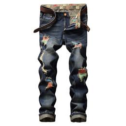 Calças homens rap on-line-NOVOS Homens Calça Jeans 2017 Comprimento Total Pintura Buraco Jeans Homens Designer de Roupas Slim Fit Denim Hip Hop Rap Calças Calças Casuais de Luxo