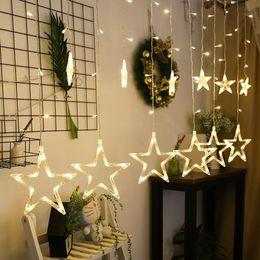 2019 lámparas de burbujas de agua Iluminación LED luces de cadena Pentagram Estrella cortina de luz de hadas de la boda cumpleaños decoración interior Luz 220V IP44