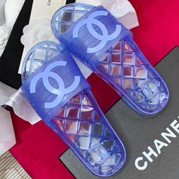 2019 nuovo sandalo di disegno di modo Nuovo arrivo PVC donne sandali scarpe di design di lusso scivolo estate moda ampia piatto sandali scivolosi pantofole flip flip con scatola formato 35-41 nuovo sandalo di disegno di modo economici