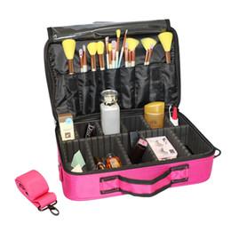 camada cosméticos sacos Desconto caixa de armazenamento profissional cosméticos saco grande capacidade multi-camada de viagens portátil saco de cosmética com alça de ombro (pequena) Rose Re