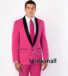 Blazers rosas online-Último diseño Traje Trajes de boda Hot Pink Slim Fit para hombre Trajes Novio Personalizado de negocios Casual Blazer Formal Trajes de baile (chaqueta + pantalones)