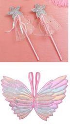 festa favorisce le ali Sconti Favore di partito bambini ali scintillio bacchette magiche stella vestire cosplay fata sfumatura di colore farfalla ala paillettes nappa bacchetta rosa
