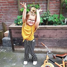 Menina, amarela, camisa, desenho on-line-2019 Moda verão Outono Crianças Meninas Conjuntos de Roupas de Bebê Calças T-shirt 2 Pçs / sets Pure color design zebra-listra Amarelo + preto e whi