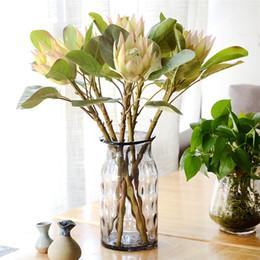 2019 piano vasi fiori artificiali Nuova Artificia Africa Protea Cynaroides Fiori di seta Fiori finti Rami Decorazione di nozze a casa Ghirlande Piante floreali 3 colori