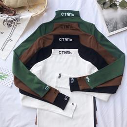 Turtleneck t-shirt weiblich online-mode Brief stickerei Rollkragen Grundlegende T-shirt Frauen Langarm T-shirt Harajuku Beiläufige Feste T-stücke Für Weibliche Herbst