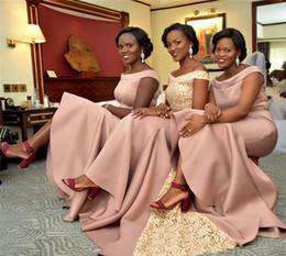 nigerianische brautjungfernkleider Rabatt Nigerian Blush Pink Elegante Brautjungfernkleider Eine Linie Schulterfrei Bodenlangen Trauzeugin Kleider Hochzeitsgast Abend Prom Wear BM0924