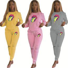Tuta da tuta online-Rosa Donne Tute Sport Set grande lingua Sweatsuit Outfit 2 da fermo a lungo del foro Pantaloni aderente Autunno Inverno Abbigliamento Plus Size