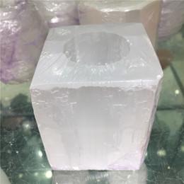 Bougies blanches en Ligne-Naturel Blanc Sélénite Cube Bougie Bâton Sculptant Des Pierres Précieuses Méditation Cristal Guérison Cristal Énergie Minérale Livraison Gratuite