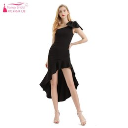 um ombro frente vestido de casamento curto Desconto TANYA NOIVA Curta Frente Longo Voltar Mini Um Ombro Vestido de Festa de Casamento Formal Mulheres Senhora Vestido de Baile Vestido de Baile