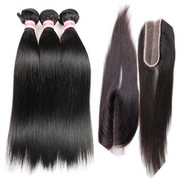 kim lace Coupons - Brazilian Straight Hair Bundle With 2x6 Kim Kardashian lace Closure Middle Part Natural Color 100% Unprocessed Virgin Human Hair Extensions
