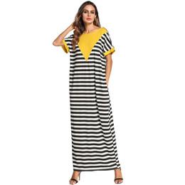4103437b85bf Black white stripes Fashion contrast color patchwork T shirt long dress for women  Summer 2019 plus size maxi dresses