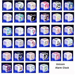 настольные часы Скидка 40color Единорог светодиодный будильник многофункциональный цифровой стол сенсорный свет Настольные часы Единорог часы детские игрушки 60 шт. T1I1102