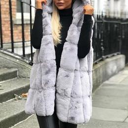 2019 jaquetas de pele para mulheres Aqueça Womens Inverno Faux Fur Vest Coats senhoras aquecer Gilet Vest sem mangas com capuz Colete Longo Falso casaco de pele Jacket 2019 jaquetas de pele para mulheres barato