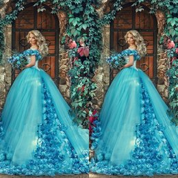 Quinceanera Dresses 2020 Cinderella 3d Handmake Flowers Blue Ball Gown Vestido De 15 Anos De Debutante Sweet 16 Dresses Princess