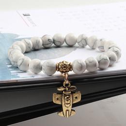 15 Style Natural Stone Beads Charm Bracciali Bracciale in turchese porcellana bianca turchese Bracciale pendente per gioielli da donna supplier porcelain angels da angeli di porcellana fornitori