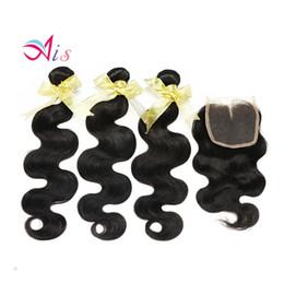 Cabelos indianos on-line-Pacotes de cabelo virgem indiano com fecho Natural 1B cor não transformados onda do corpo cabelo virgem indiano cabelo cheveux vierges brésiliens