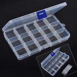 2019 caja plegable de tela Nueva Llegada 15 Ranuras De Plástico Ajustable Caja de Almacenamiento de Perlas de Joyería Craft Organizador Caso Para El Hogar Herramienta de Organización Diaria