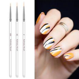 Fiori disegnati online-Nail art painting brush set 3pcs nail disegno strisce fiore punteggiano pennelli manicure unghie penna penna nail art strumento tta551