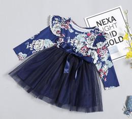 2019 chicas flora vestidos de algodon INS leopardo niñas florales viste tutú niños de manga larga de los vestidos de los niños Ropa para niñas ropa de niña bebé vestido bebé vestido de la princesa