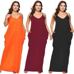 Deutschland Zixi Pydi Fat Plus Size Frauen Sexy Sommer Casual Einfarbig New Fashion Unregelmäßige Sling Deep V Low Chest Strand Backless Party Kleider Versorgung